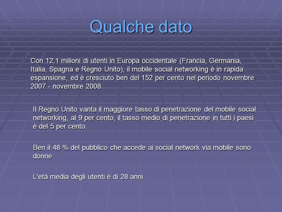 Qualche dato Con 12,1 milioni di utenti in Europa occidentale (Francia, Germania, Italia, Spagna e Regno Unito), il mobile social networking è in rapida espansione, ed è cresciuto ben del 152 per cento nel periodo novembre 2007 - novembre 2008.