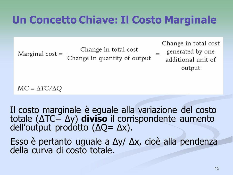 15 Un Concetto Chiave: Il Costo Marginale Il costo marginale è eguale alla variazione del costo totale (ΔTC= Δy) diviso il corrispondente aumento dell