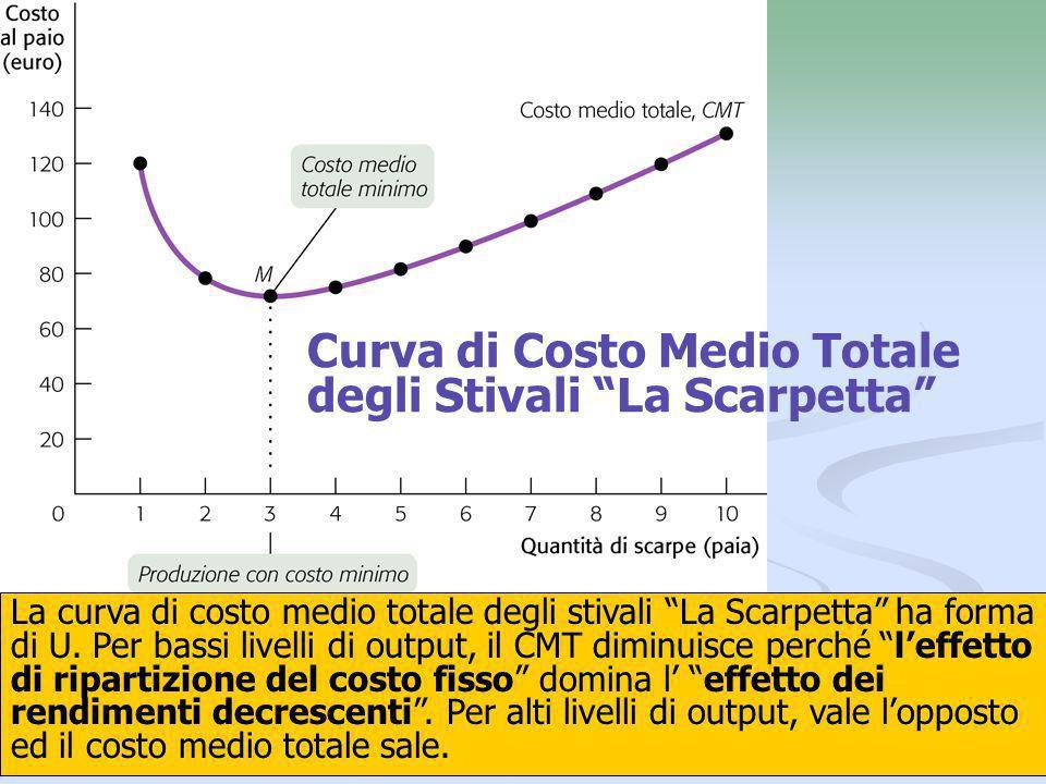 19 Curva di Costo Medio Totale degli Stivali La Scarpetta La curva di costo medio totale degli stivali La Scarpetta ha forma di U. Per bassi livelli d