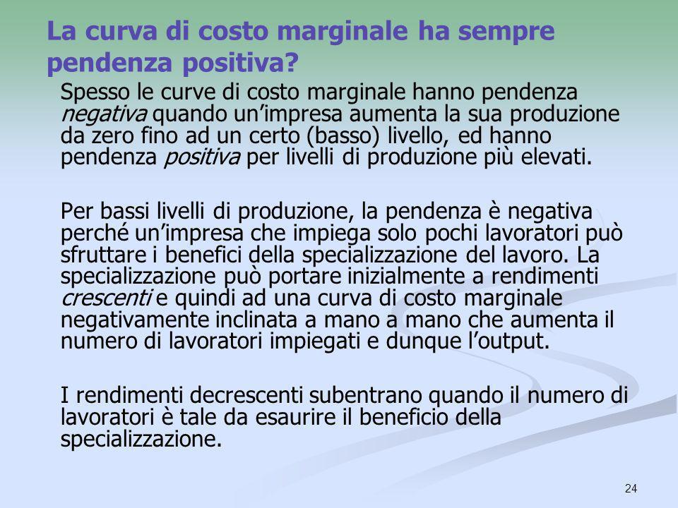 24 La curva di costo marginale ha sempre pendenza positiva? Spesso le curve di costo marginale hanno pendenza negativa quando unimpresa aumenta la sua
