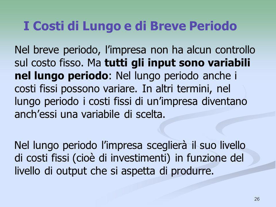 26 I Costi di Lungo e di Breve Periodo Nel breve periodo, limpresa non ha alcun controllo sul costo fisso. Ma tutti gli input sono variabili nel lungo