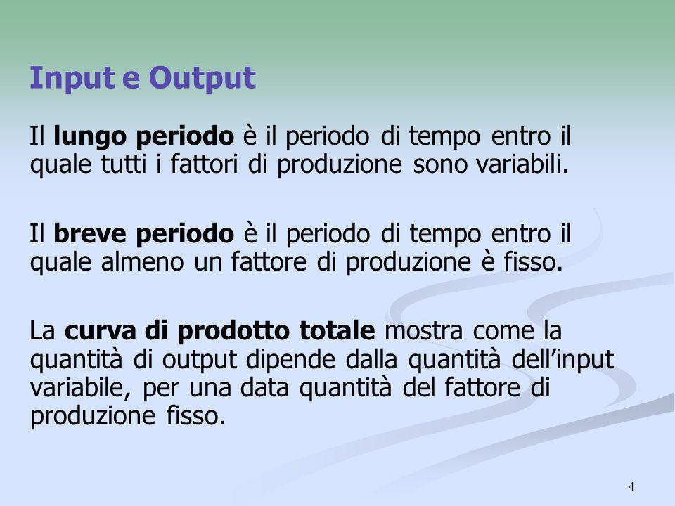 4 Input e Output Il lungo periodo è il periodo di tempo entro il quale tutti i fattori di produzione sono variabili. Il breve periodo è il periodo di