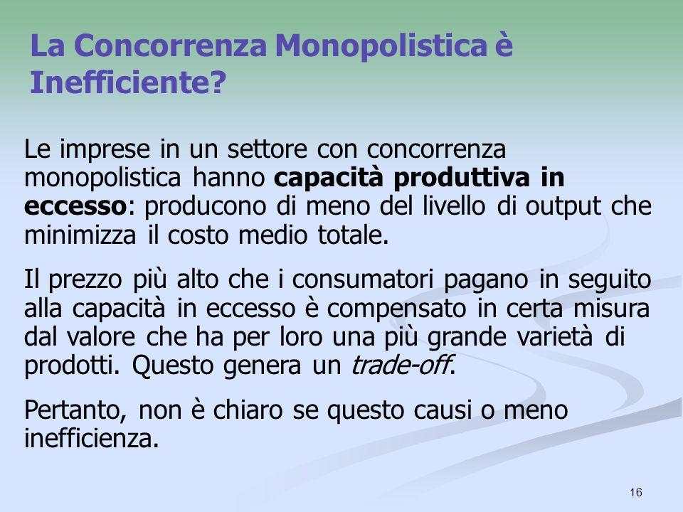 16 La Concorrenza Monopolistica è Inefficiente? Le imprese in un settore con concorrenza monopolistica hanno capacità produttiva in eccesso: producono