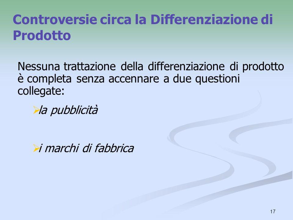 17 Controversie circa la Differenziazione di Prodotto Nessuna trattazione della differenziazione di prodotto è completa senza accennare a due question