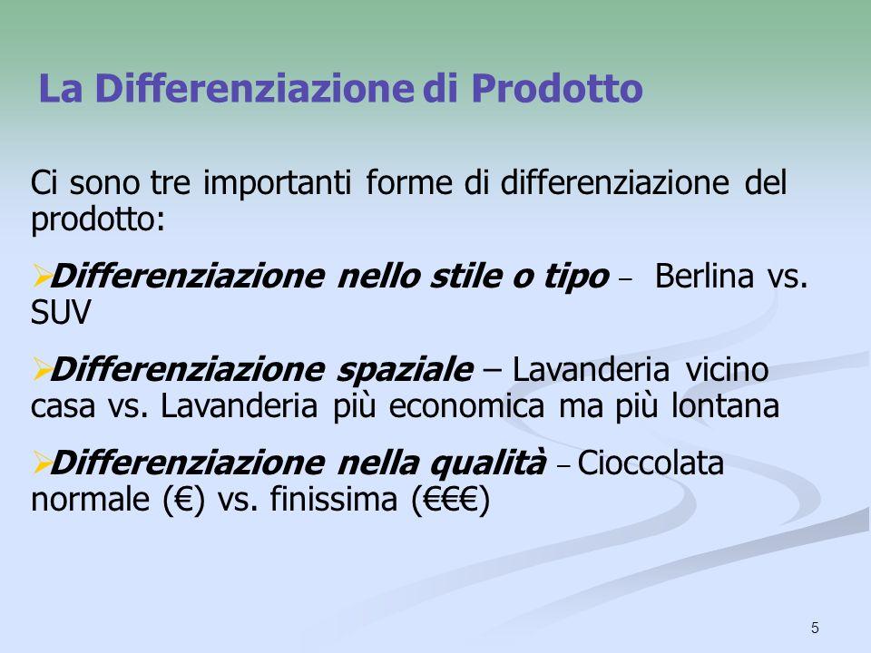 5 La Differenziazione di Prodotto Ci sono tre importanti forme di differenziazione del prodotto: Differenziazione nello stile o tipo – Berlina vs. SUV