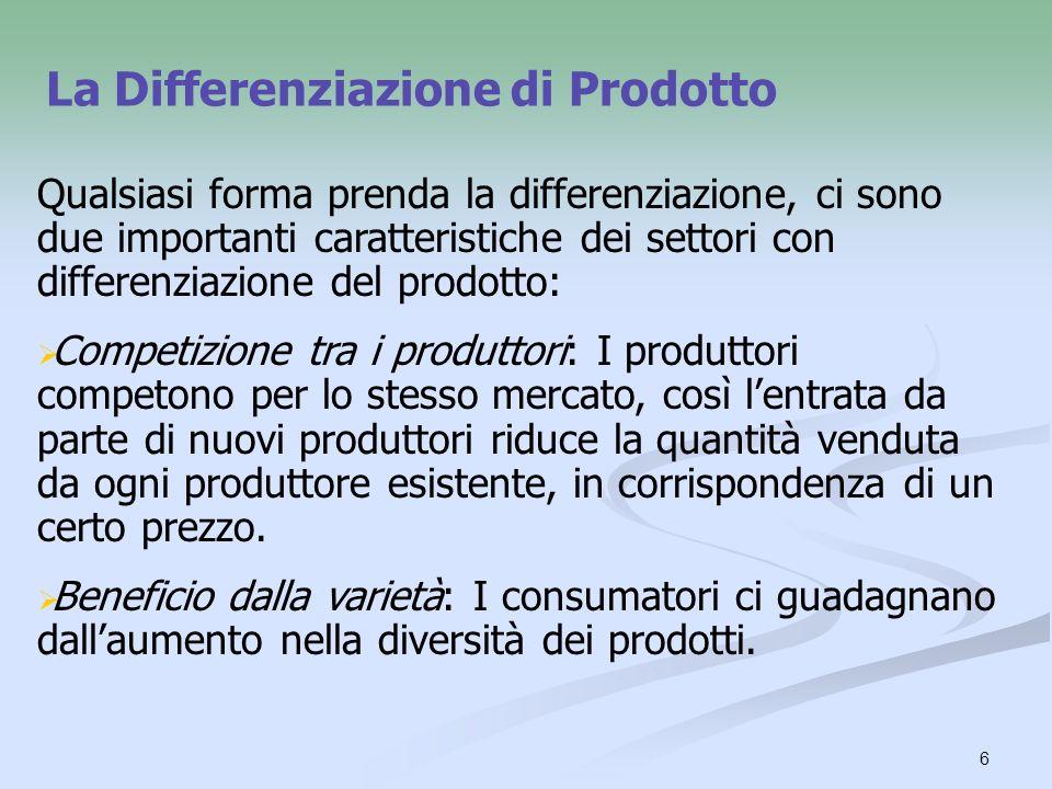 6 La Differenziazione di Prodotto Qualsiasi forma prenda la differenziazione, ci sono due importanti caratteristiche dei settori con differenziazione