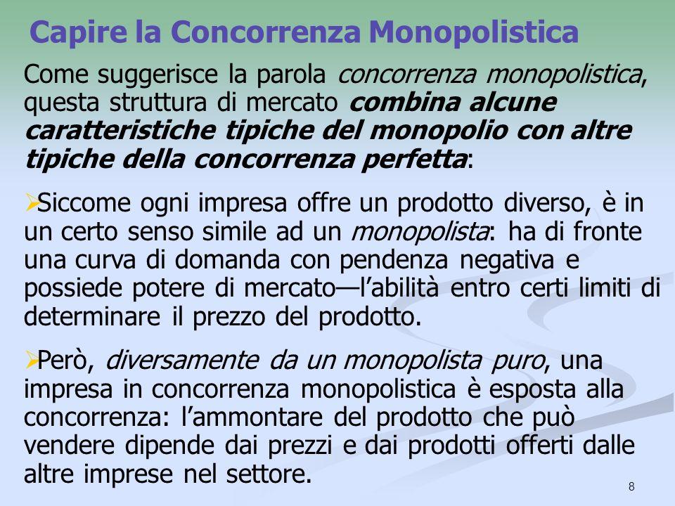 8 Capire la Concorrenza Monopolistica Come suggerisce la parola concorrenza monopolistica, questa struttura di mercato combina alcune caratteristiche