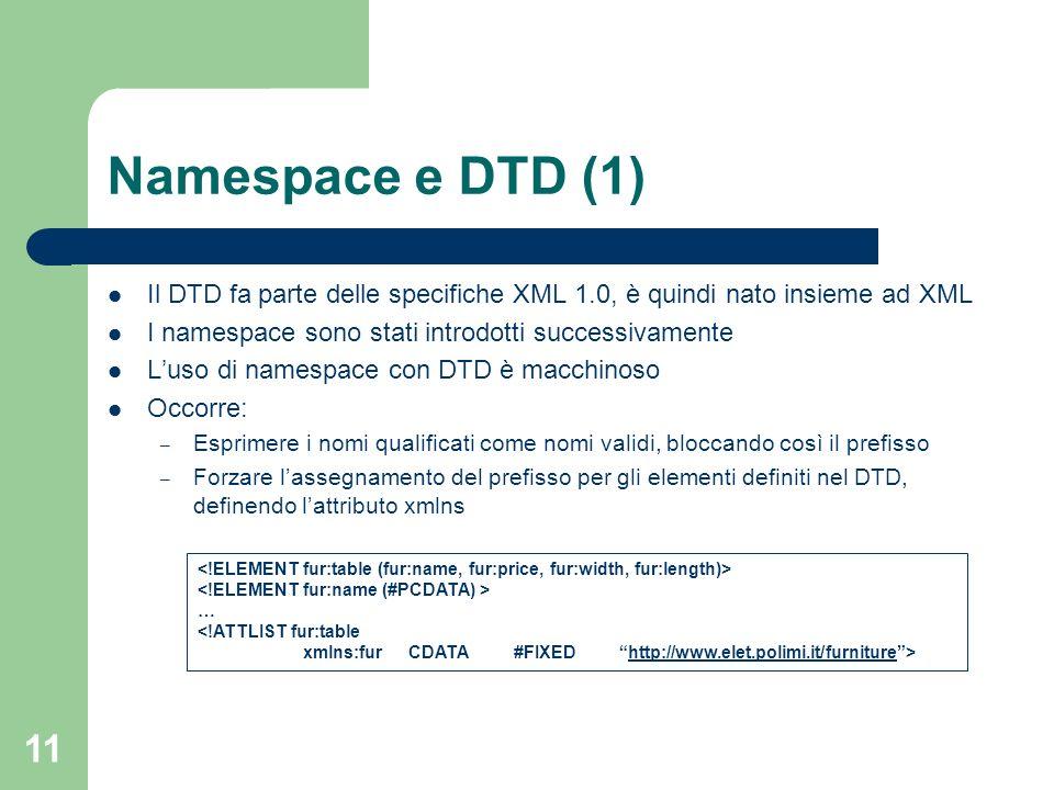 11 Namespace e DTD (1) Il DTD fa parte delle specifiche XML 1.0, è quindi nato insieme ad XML I namespace sono stati introdotti successivamente Luso d