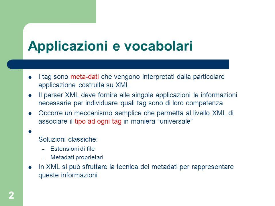2 Applicazioni e vocabolari I tag sono meta-dati che vengono interpretati dalla particolare applicazione costruita su XML Il parser XML deve fornire a