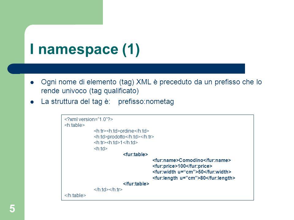 6 I namespace (2) Ma non basta: – Il prefisso potrebbe ripetersi – Documenti diversi potrebbero identificare lo stesso namespace logico con identificativi differenti – Imporre lunicità porterebbe a ns lunghissimi ed a codici illeggibili I prefissi usati vengono introdotti tramite lattributo predefinito xmlns Quello che conta è lURI univoco associato al prefisso: http://www.w3.org/HTML/1998/html4 <h:table xmlns:h=http://www.w3.org/HTML/1998/html4/http://www.w3.org/HTML/1998/html4 xmlns:fur=http://www.elet.polimi.it/furniture/> http://www.w3.org/HTML/1998/html4