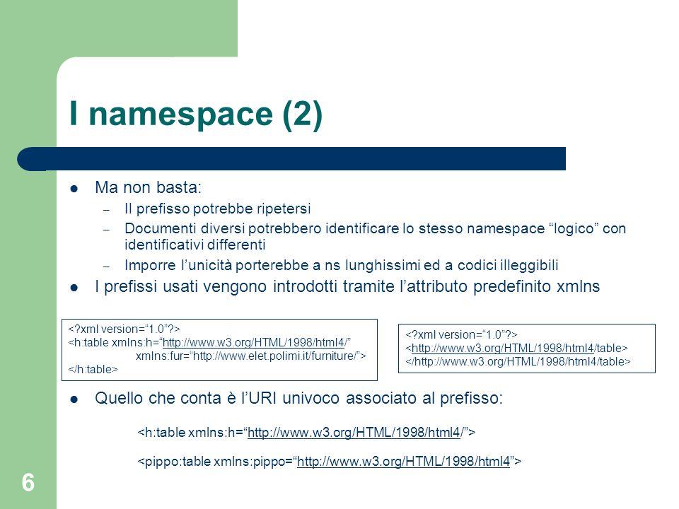 6 I namespace (2) Ma non basta: – Il prefisso potrebbe ripetersi – Documenti diversi potrebbero identificare lo stesso namespace logico con identifica