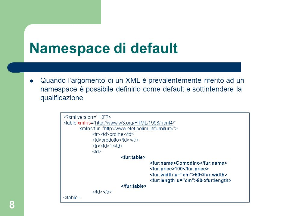 8 Namespace di default Quando largomento di un XML è prevalentemente riferito ad un namespace è possibile definirlo come default e sottintendere la qu