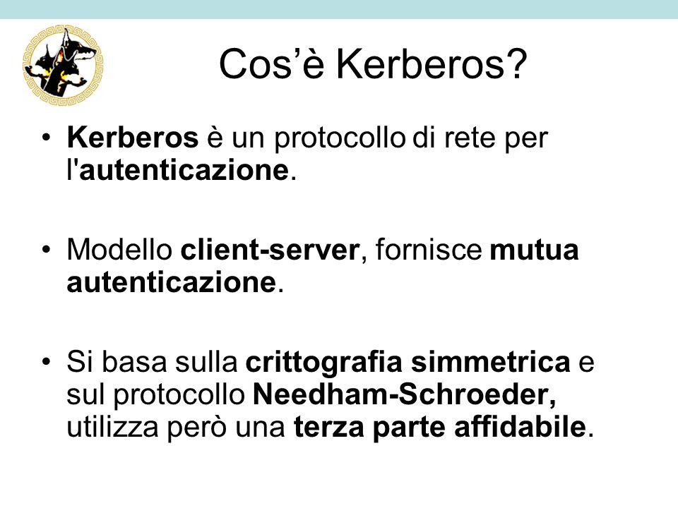 Cosè Kerberos? Kerberos è un protocollo di rete per l'autenticazione. Modello client-server, fornisce mutua autenticazione. Si basa sulla crittografia