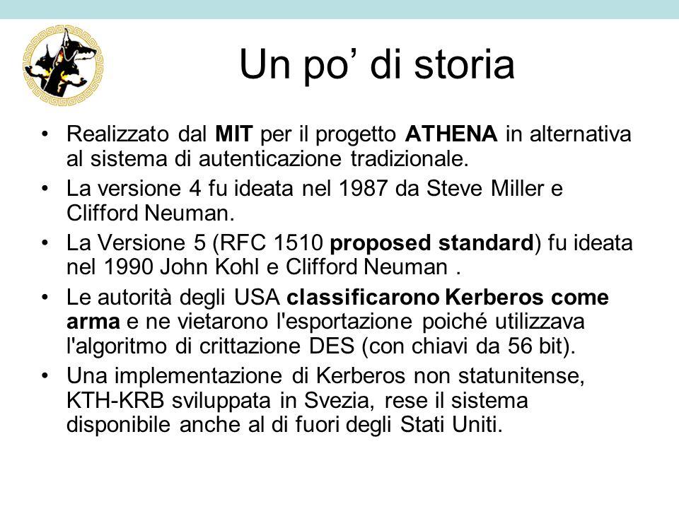 Un po di storia Realizzato dal MIT per il progetto ATHENA in alternativa al sistema di autenticazione tradizionale. La versione 4 fu ideata nel 1987 d