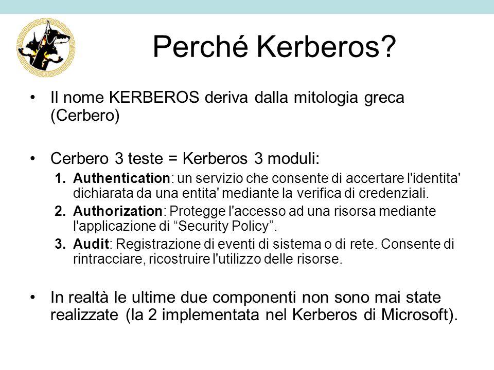 Perché Kerberos? Il nome KERBEROS deriva dalla mitologia greca (Cerbero) Cerbero 3 teste = Kerberos 3 moduli: 1.Authentication: un servizio che consen
