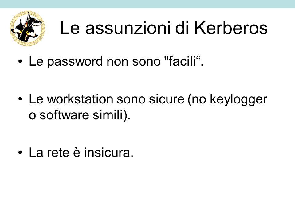 Le assunzioni di Kerberos Le password non sono