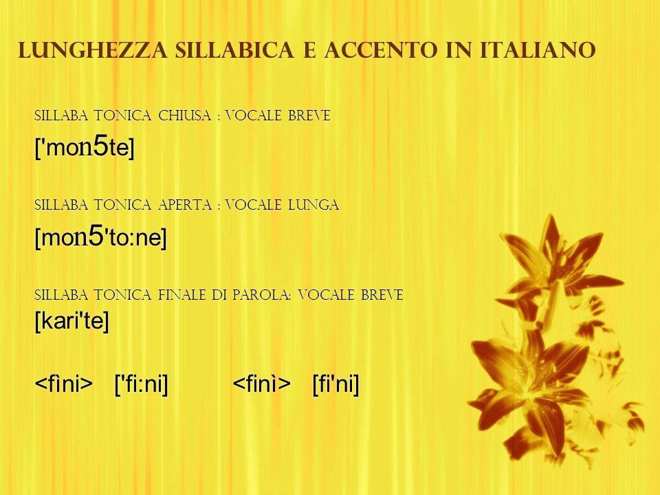 Lunghezza sillabica e accento in italiano Sillaba tonica chiusa : vocale breve ['mo n 5 te] Sillaba tonica aperta : vocale lunga [mo n 5 'to:ne] Silla