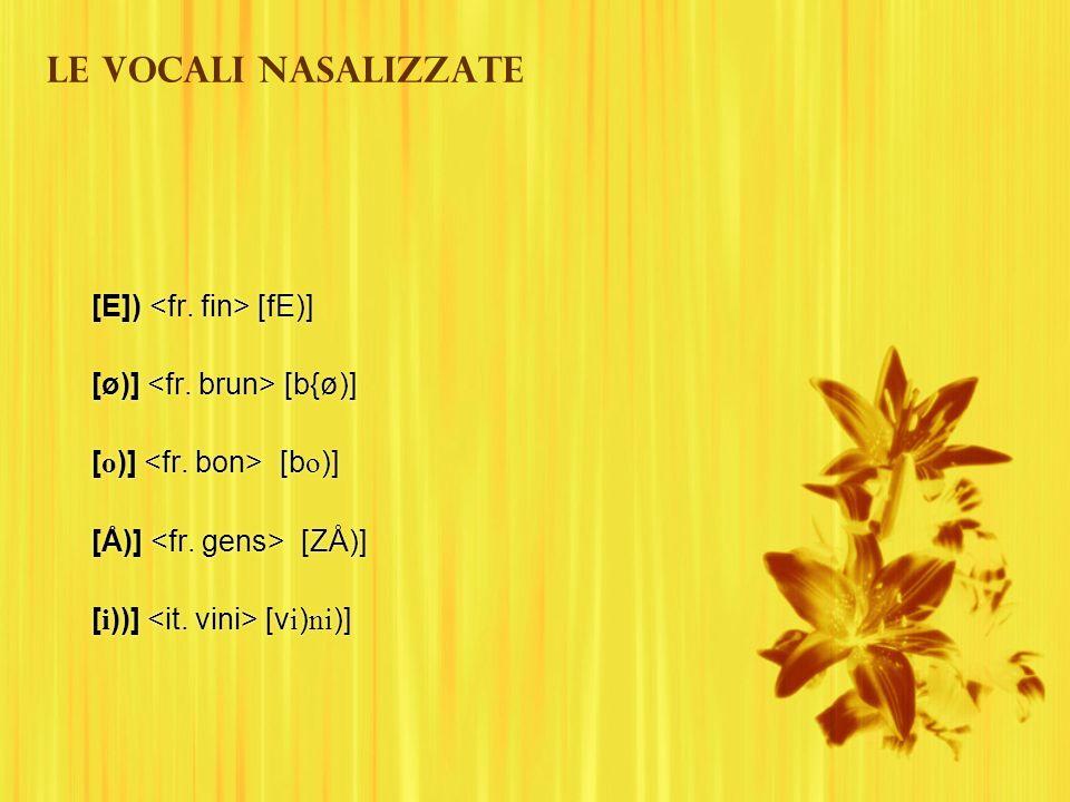Le vocali nasalizzate [E]) [fE)] [ø)] [b{ø)] [ o )] [b o )] [Å)] [ZÅ)] [ i ))] [v i ) ni )] [E]) [fE)] [ø)] [b{ø)] [ o )] [b o )] [Å)] [ZÅ)] [ i ))] [
