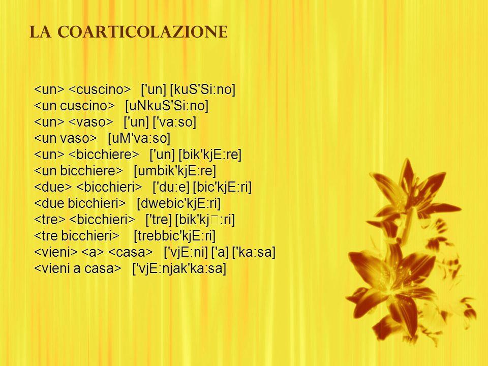 La coarticolazione ['un] [kuS'Si:no] [uNkuS'Si:no] ['un] ['va:so] [uM'va:so] ['un] [bik'kjE:re] [umbik'kjE:re] ['du:e] [bic'kjE:ri] [dwebic'kjE:ri] ['
