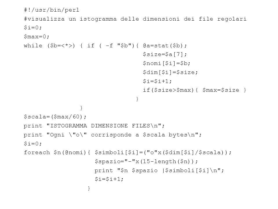 #!/usr/bin/perl #visualizza un istogramma delle dimensioni dei file regolari $i=0; $max=0; while ($b= ) { if ( -f $b ){ @a=stat($b); $size=$a[7]; $nomi[$i]=$b; $dim[$i]=$size; $i=$i+1; if($size>$max){ $max=$size } } $scala=($max/60); print ISTOGRAMMA DIMENSIONE FILES\n ; print Ogni \ o\ corrisponde a $scala bytes\n ; $i=0; foreach $n(@nomi){ $simboli[$i]=( o x($dim[$i]/$scala)); $spazio= - x(15-length($n)); print $n $spazio |$simboli[$i]\n ; $i=$i+1; }