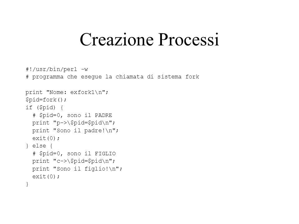 Creazione Processi #!/usr/bin/perl -w # programma che esegue la chiamata di sistema fork print Nome: exfork1\n ; $pid=fork(); if ($pid) { # $pid=0, sono il PADRE print p->\$pid=$pid\n ; print Sono il padre!\n ; exit(0); } else { # $pid=0, sono il FIGLIO print c->\$pid=$pid\n ; print Sono il figlio!\n ; exit(0); }