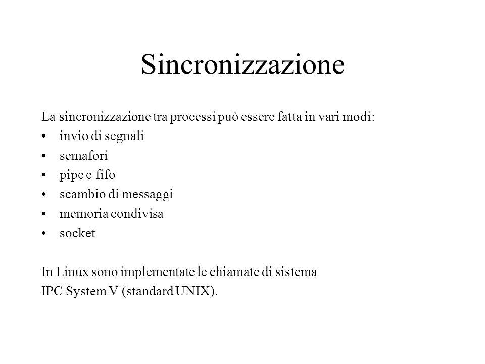 Sincronizzazione La sincronizzazione tra processi può essere fatta in vari modi: invio di segnali semafori pipe e fifo scambio di messaggi memoria con