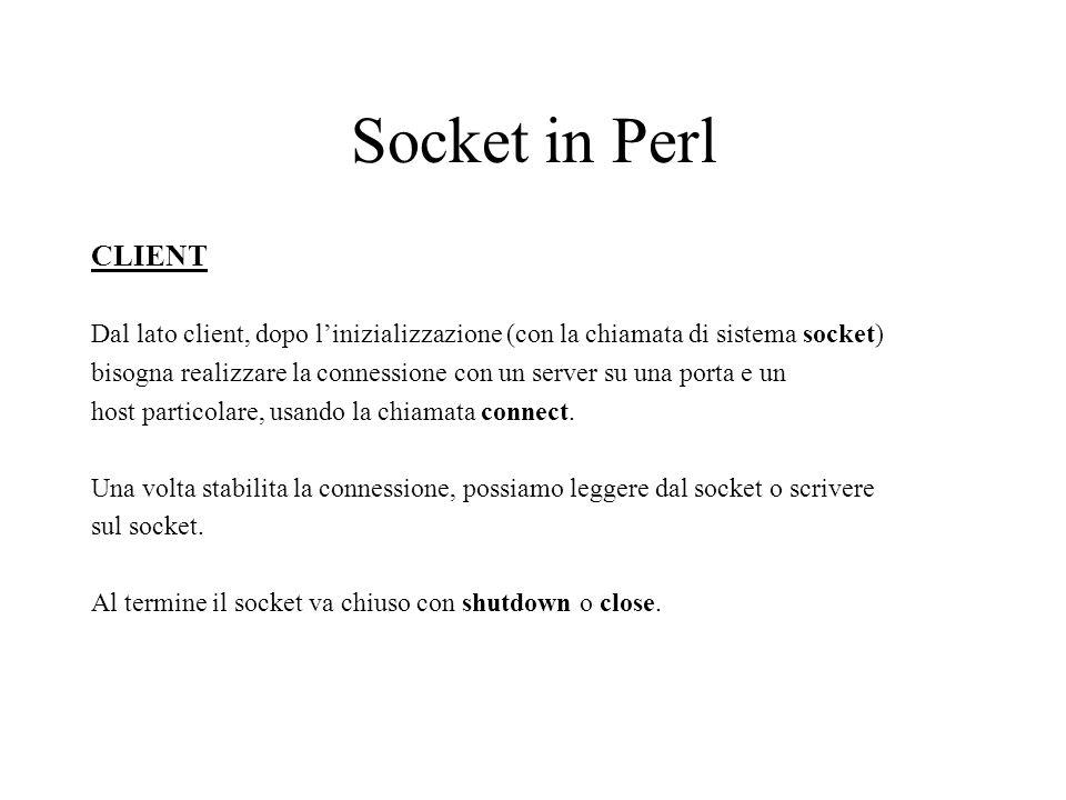 Socket in Perl CLIENT Dal lato client, dopo linizializzazione (con la chiamata di sistema socket) bisogna realizzare la connessione con un server su una porta e un host particolare, usando la chiamata connect.