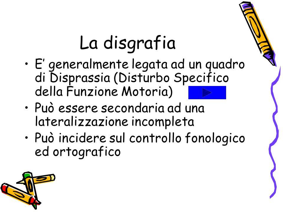 La disgrafia E generalmente legata ad un quadro di Disprassia (Disturbo Specifico della Funzione Motoria) Può essere secondaria ad una lateralizzazion
