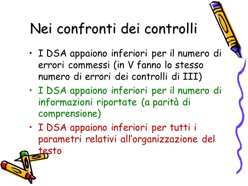 Nei confronti dei controlli I DSA appaiono inferiori per il numero di errori commessi (in V fanno lo stesso numero di errori dei controlli di III) I D