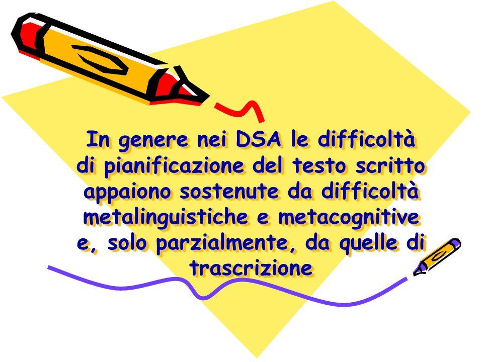 In genere nei DSA le difficoltà di pianificazione del testo scritto appaiono sostenute da difficoltà metalinguistiche e metacognitive e, solo parzialm