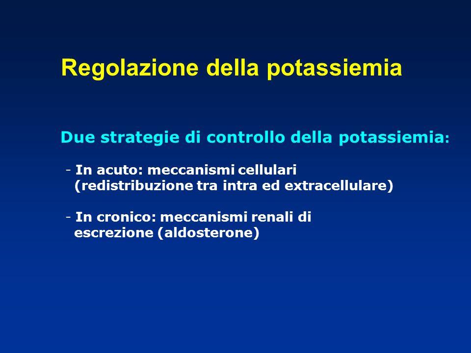 Due strategie di controllo della potassiemia : - In acuto: meccanismi cellulari (redistribuzione tra intra ed extracellulare) - In cronico: meccanismi