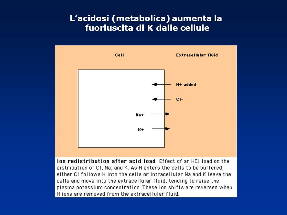 Lacidosi (metabolica) aumenta la fuoriuscita di K dalle cellule