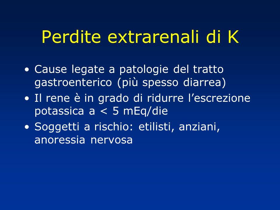 Perdite extrarenali di K Cause legate a patologie del tratto gastroenterico (più spesso diarrea) Il rene è in grado di ridurre lescrezione potassica a