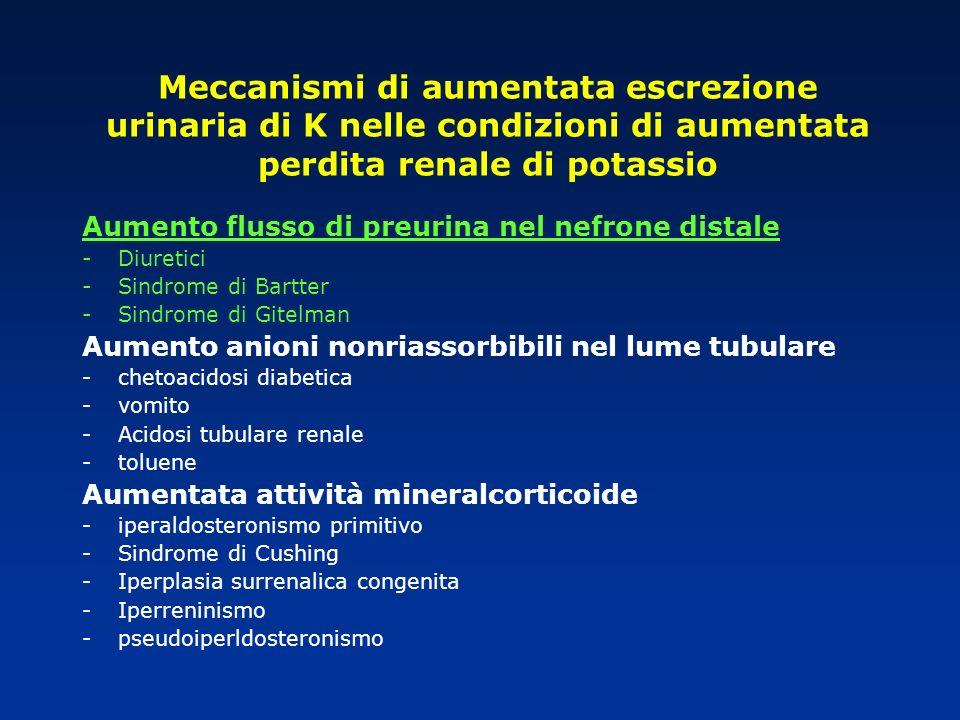 Meccanismi di aumentata escrezione urinaria di K nelle condizioni di aumentata perdita renale di potassio Aumento flusso di preurina nel nefrone dista