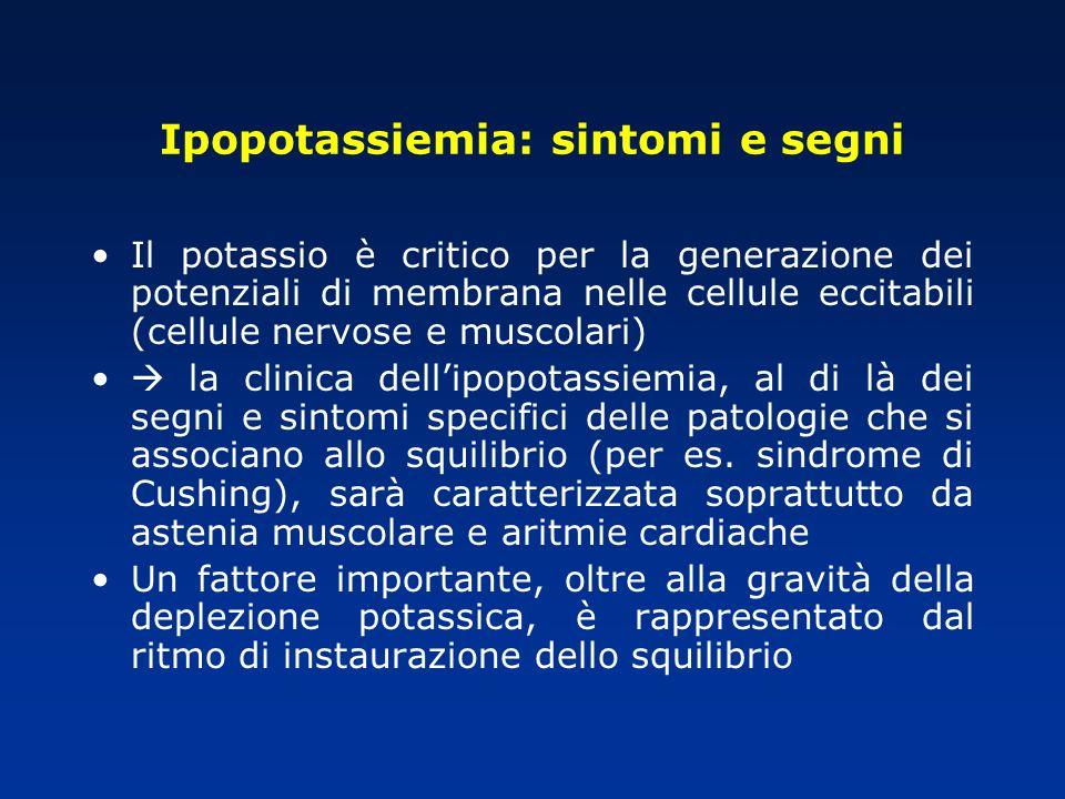 Ipopotassiemia: sintomi e segni Il potassio è critico per la generazione dei potenziali di membrana nelle cellule eccitabili (cellule nervose e muscol