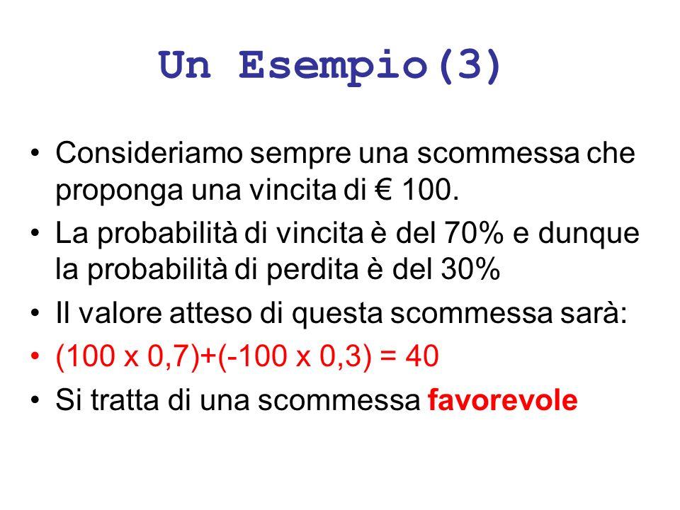 Un Esempio(3) Consideriamo sempre una scommessa che proponga una vincita di 100. La probabilità di vincita è del 70% e dunque la probabilità di perdit