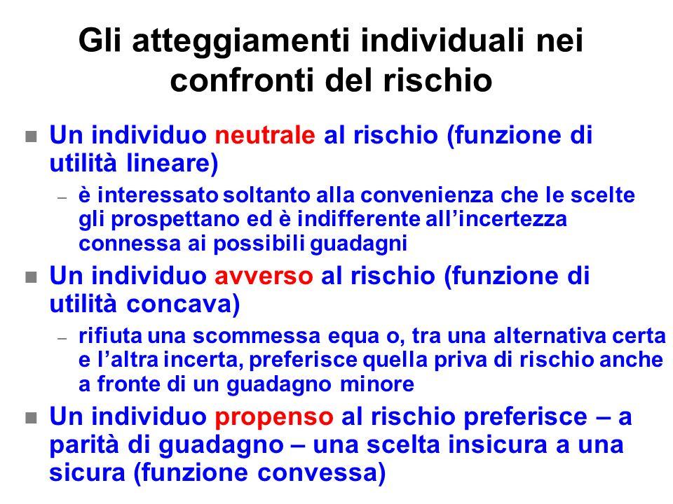Gli atteggiamenti individuali nei confronti del rischio n Un individuo neutrale al rischio (funzione di utilità lineare) – è interessato soltanto alla