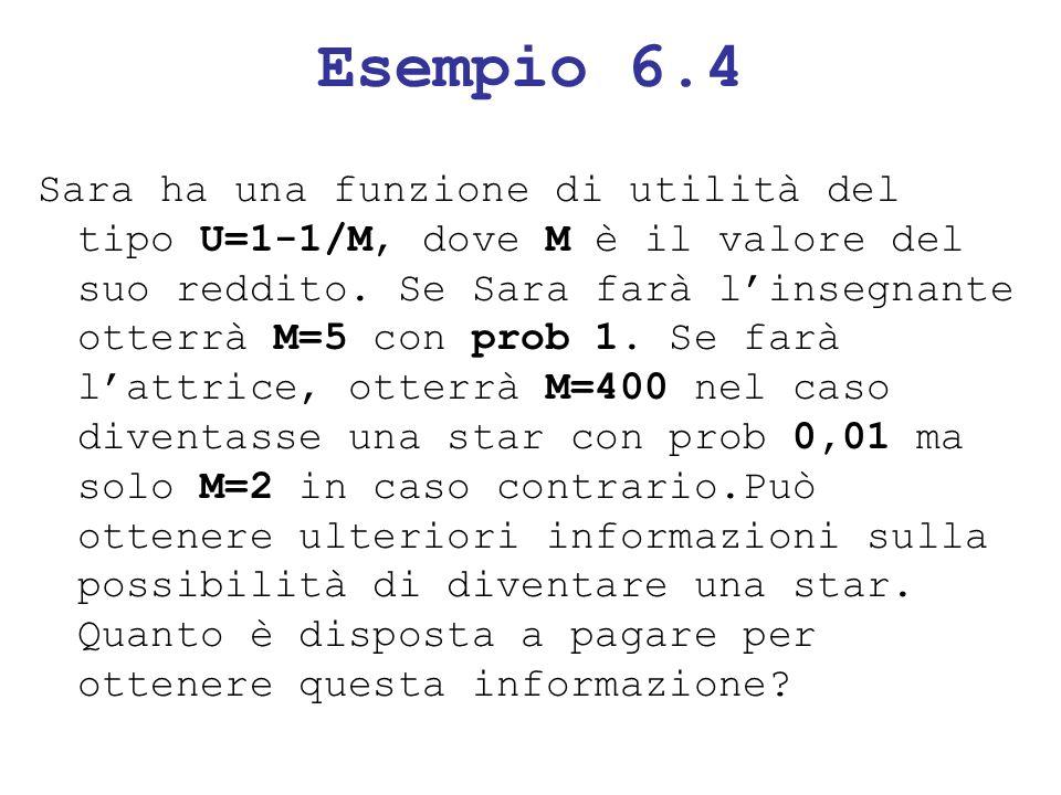 Esempio 6.4 Sara ha una funzione di utilità del tipo U=1-1/M, dove M è il valore del suo reddito. Se Sara farà linsegnante otterrà M=5 con prob 1. Se