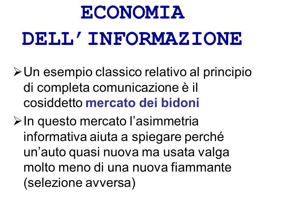 ECONOMIA DELLINFORMAZIONE Un esempio classico relativo al principio di completa comunicazione è il cosiddetto mercato dei bidoni In questo mercato las