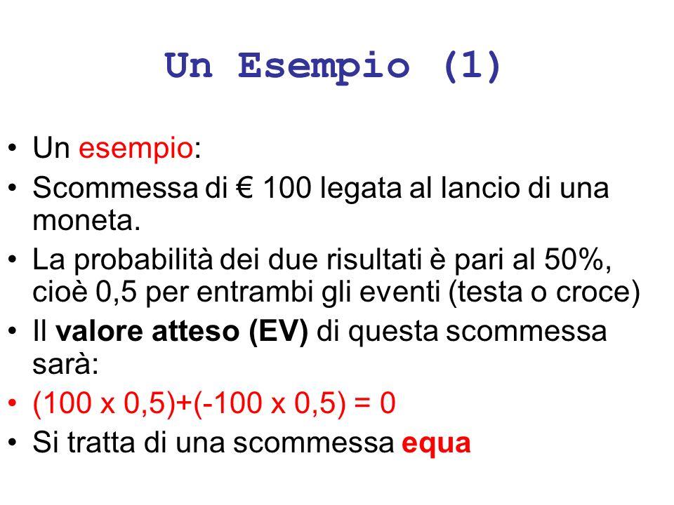 Un Esempio (1) Un esempio: Scommessa di 100 legata al lancio di una moneta. La probabilità dei due risultati è pari al 50%, cioè 0,5 per entrambi gli