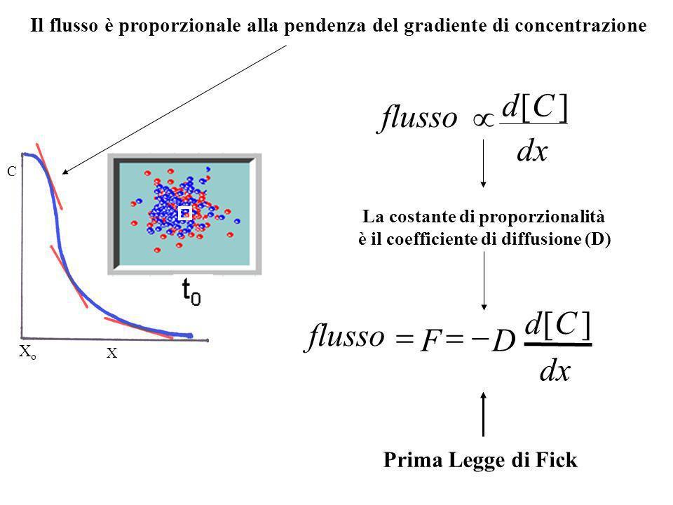 Diffusione di Soluti 1 2 Dove: n=n o particelle N= numero di Avogadro A=area T=tempo Flusso Molare Unidirezionale: Quantità di soluto (in moli) che at