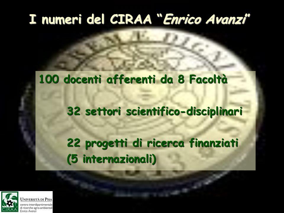 I numeri del CIRAA Enrico Avanzi 100 docenti afferenti da 8 Facoltà 32 settori scientifico-disciplinari 22 progetti di ricerca finanziati 22 progetti