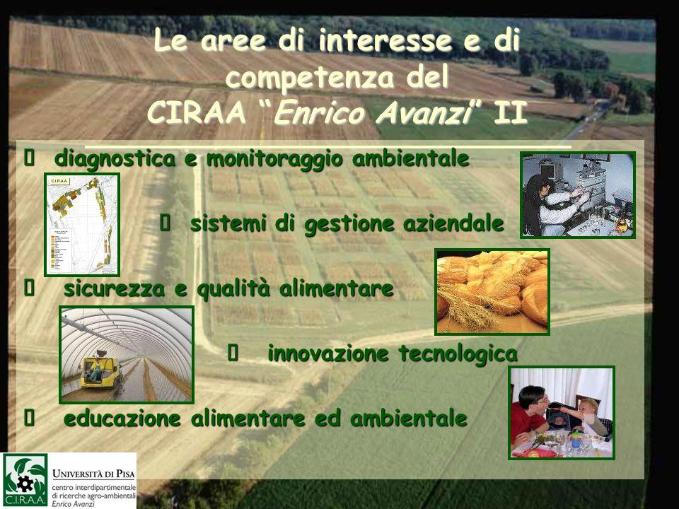 Le aree di interesse e di competenza del CIRAA Enrico Avanzi II diagnostica e monitoraggio ambientale diagnostica e monitoraggio ambientale sistemi di