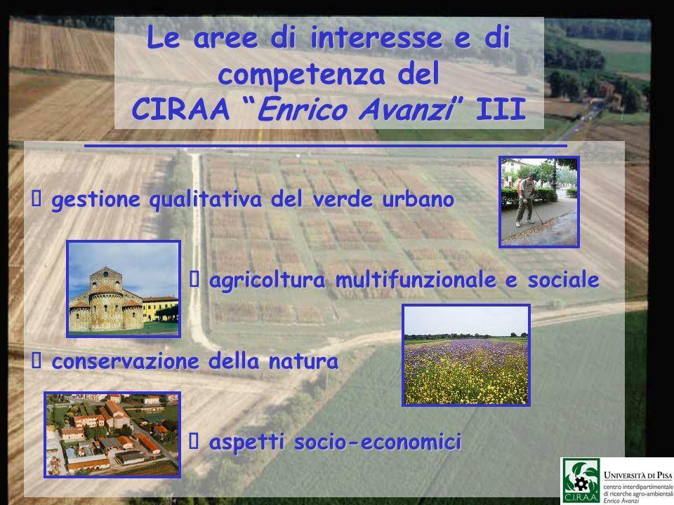 Le aree di interesse e di competenza del CIRAA Enrico Avanzi III gestione qualitativa del verde urbano gestione qualitativa del verde urbano agricoltu