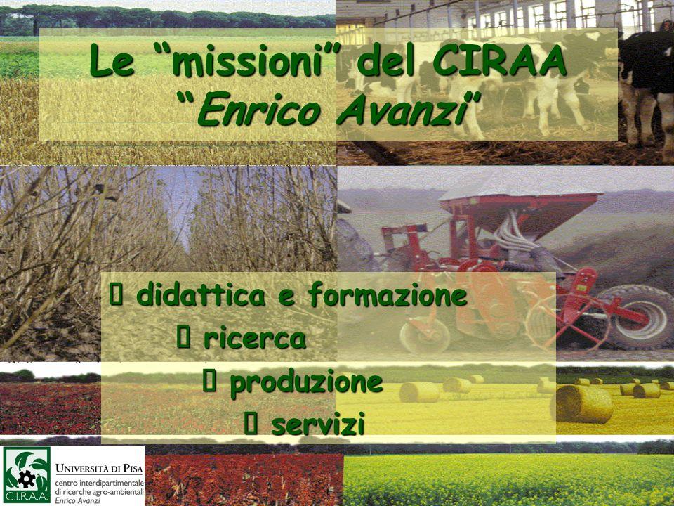 Le missioni del CIRAAEnrico Avanzi didattica e formazione didattica e formazione ricerca ricerca produzione produzione servizi servizi
