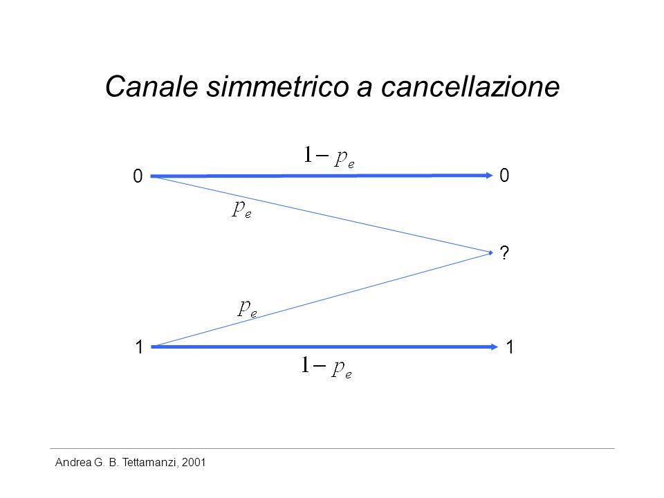 Andrea G. B. Tettamanzi, 2001 Canale simmetrico a cancellazione 0 1 0 1 ?