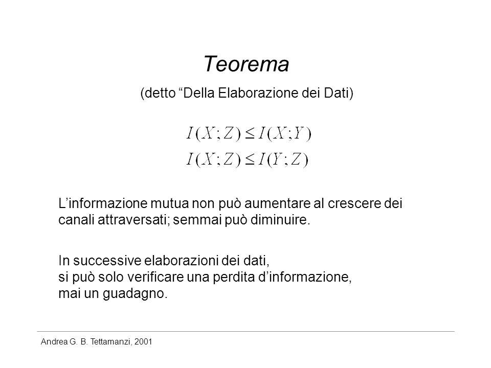 Andrea G. B. Tettamanzi, 2001 Teorema (detto Della Elaborazione dei Dati) Linformazione mutua non può aumentare al crescere dei canali attraversati; s