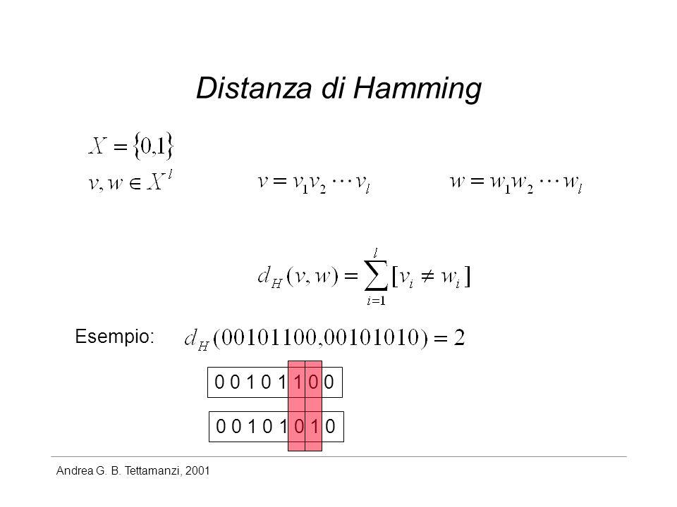 Andrea G. B. Tettamanzi, 2001 Distanza di Hamming Esempio: 0 0 1 0 1 1 0 0 0 0 1 0 1 0 1 0