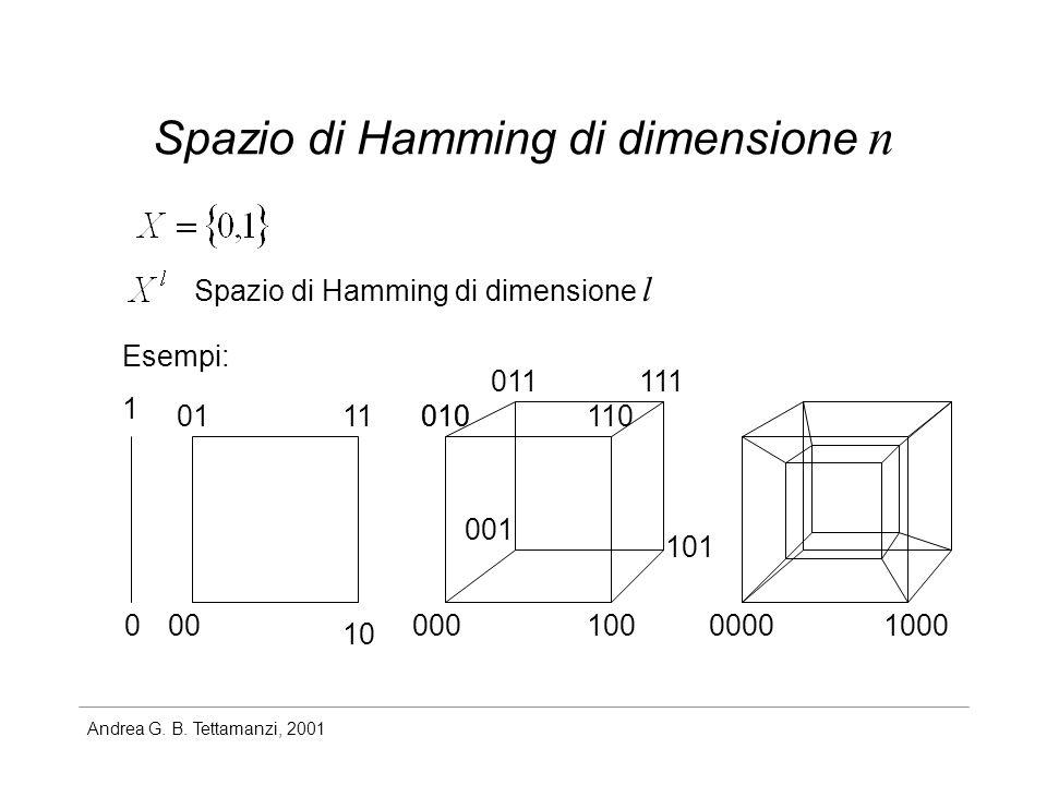 Andrea G. B. Tettamanzi, 2001 Spazio di Hamming di dimensione n Spazio di Hamming di dimensione l 1 000 10 0111 000100 010110010 011 001 101 111 00001