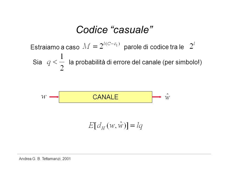 Andrea G. B. Tettamanzi, 2001 Codice casuale Estraiamo a caso parole di codice tra le Siala probabilità di errore del canale (per simbolo!) CANALE